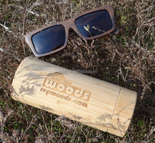 High quality solid ebony wood sunglasses with tube bamboo case