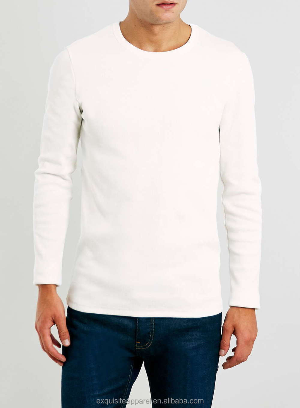High Quality Men 39 S Plus Size Off White Rib Long Sleeve