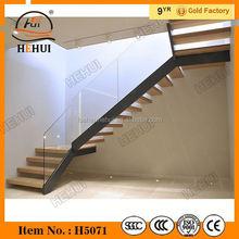 Yy-g1376 hehui loft interno scale dritte piccolo spazio in legno in acciaio inox scale con staicase a spirale in vetro