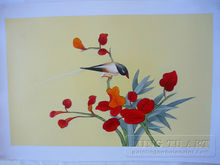Handmade oriental flower with bird oil painting,chinese calligraphy