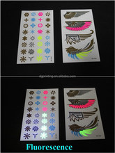 Watertransfer removeable metallic temporary tattoo stickers appear fluorescence under UV/IR light