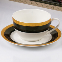 High quality custom printing hand made durable ceramic porcelain coffee cup and saucer sets