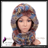 CX-C-193F Hot Sales Rex Rabbit Fur Knitted Winter Hat