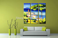 3 piece art set modern wall art Spring View Scenery Landscape Palette Abstract hand painted Oil Painting on Canvas