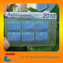 factory price pocket size PVC transparent frosted calendar card