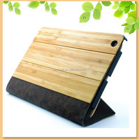 New design dynamic folding stand bamboo leather case for ipad mini 2/3