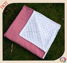 100% cotton Seersucker minky baby blanket, embroidered