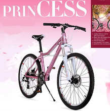 "26"" aluminum alloy pink and white princess mountain bike"