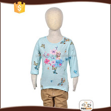 Young children light blue printing top brand t-shirts for girls