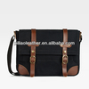 Fashion balck canvas massage bag with leather trimming