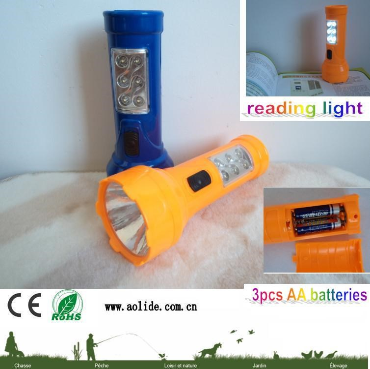 6+1 Led flashlight LED plastic torch 3 aa battery flash light