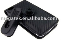 Mobile phone case phone accessories Carbon Fiber Leather case for itouch 4g , for ipod touch leather case