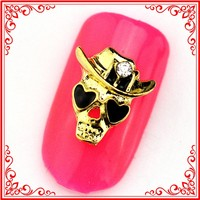 RH968/969 2015 New Style Metal Manicure Cowboy Cool Halloween Skull Hat Nail Decoration