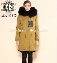 de moda chaqueta larga con venta al por mayor de piel de zorro elegent de alta calidad