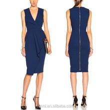Women Light Matte overlay Crepe Wrap Dress V neck Mid pencil formal dress
