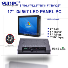 factory price 17 inch industrial touch panel pc, pc computer Core i3,i5,i7 CPU,6*COM,1*RS485,6*USB , Wifi, DC12V,24V,window linu