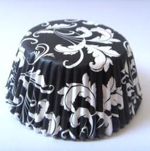 Low Price Damask black laser cutting paper wrapper Cupcake Liner cake Cup muffin baking cake box for wedding