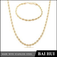 Baihui Jewelry-6MM Stainless Steel Fashion Gold Chain Necklace And Bracelet Set/Wholesale Quality New Gold Chain Design Girls