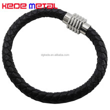 Stainless Steel Magnetic Clasps Weave Genguine Leather Bracelet