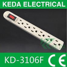 American Style 6 Gang Electrical Power Strip Extension Socket
