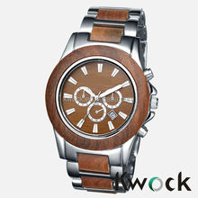 New Vogue Design Metal and Wooden 30 meters water resistant Wrist Watch for Men with japan movt quartz watch stainless ste