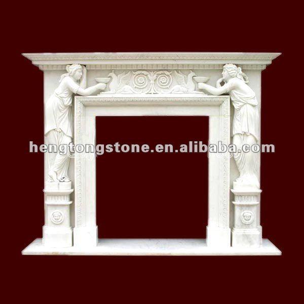 Luxury Design blanc cheminée en marbre avec Figure Statue