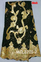 Accpet PayPal Charming black new Africa velvet lace fabric Mikemaycall africa sequins velvet lace for wedding