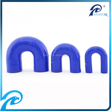 Size and Logo Printed Blue Color Elbow 180 Degree Silicone Hose