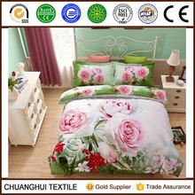 rose printed 100% cotton king size 3d bedding set comforter cover