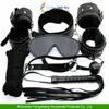 Black Bondage Set Kit Rope Ball Gag Cuffs Whip Collar Blindfold Adult Sexy Toy