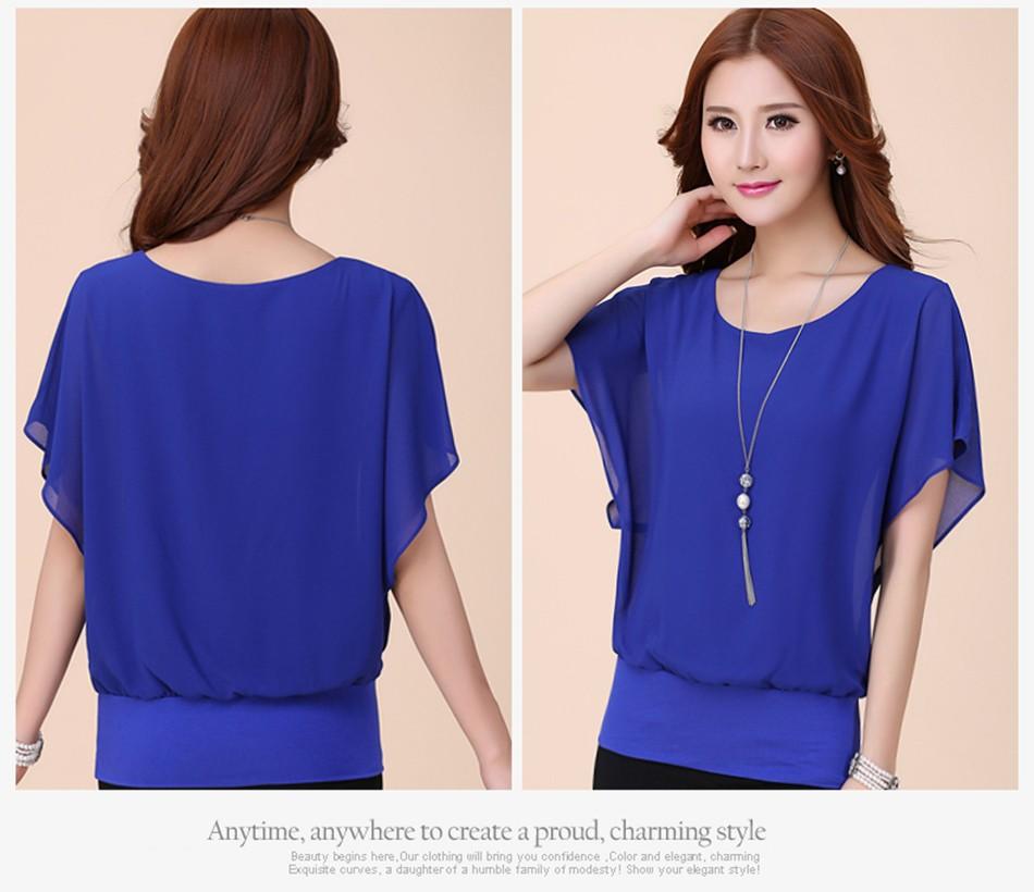 wholesale women chiffon blouse ruffle batwing short sle