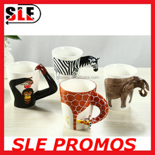 New Product High Quality Hand Painted Animals Mug,Magic Mug,Giraffe Cow Monkey Dog 3d Ceramic Mug Gift Promotional Advertisement