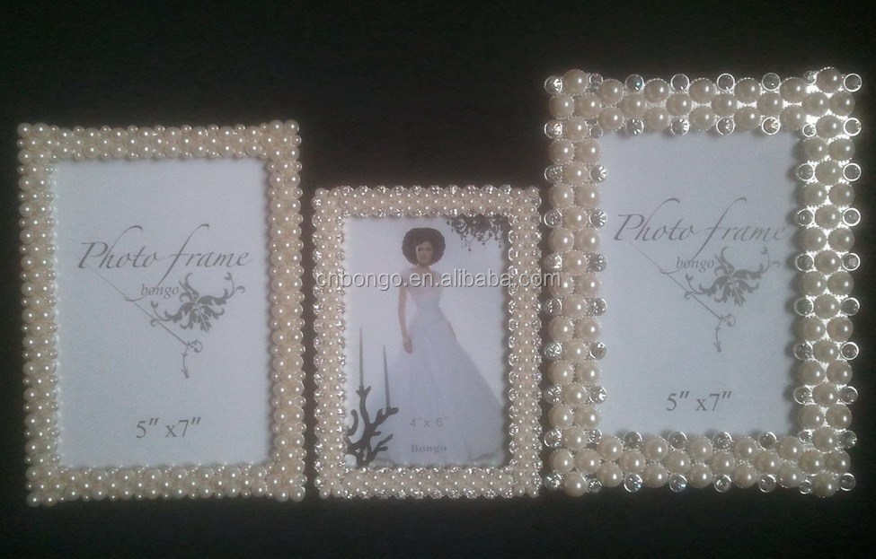 Decorative Rhinestones And Pearl Beaded Zinc Alloy Picture Frame ...