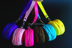 New Popular Sweet Dessert Macaron Style Shape Zipper Closure Cute Silicone Coin Purse/ Bag