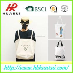 Plain white cotton canvas tote bag