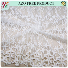 Keqiao supplier bamboo design 100% polyester embroidery lace fabric with chemical lace trim