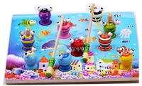 OVERSTOCK ,Wooden fishing puzzle magnetic toy baby children teach solid kittens early fishing toy set Queen size