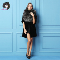 Furnix Women's 100% Real Mink Fur Coat with Big Fox Fur Collar Hooded