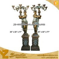 cast brass antique statue lamp of beautiful girls for home decoration