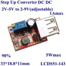usb mobile phone pcb circuit board 2-5v to 2-9v adjustable 1A , 3v 3.6v to 9V 5V 8V 4.8v dc step up converter 5w max