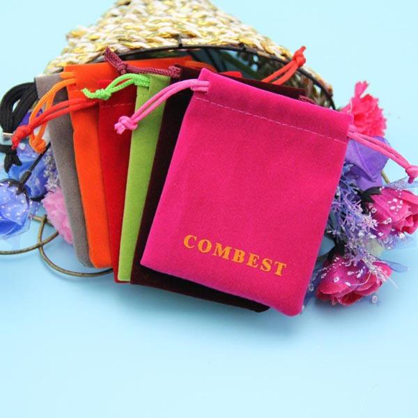 Purple color custom size velvet jewelry pouch printed logo