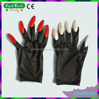 Halloween Gloves with Ghost Finger Nails Cots
