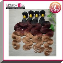 wholesale price 5a grade virgin 3 tone color ombre hair extension