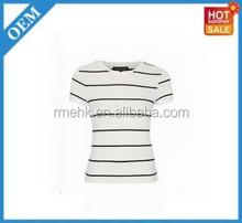 white tee with black stripes bamboo plain dri fit Fashion 100% Cotton Cheap women's Custom Printed T-shirt round neck T-shirts