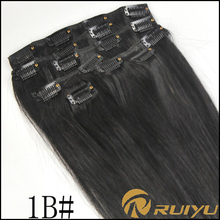 alibaba china high quality full head clip in eurasian hair extensions