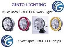 Hot sale 7'' 45w round IP68 LED work light for offorad, 7'' black, red, yellow, chrome ring LED work light