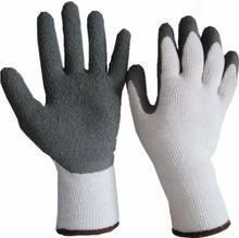 Crinkle latex coated white safety work gloves