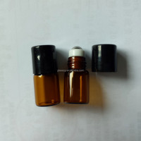 2ml Amber Roll On Bottle With Stainless Steel Rollers and Plastic cap
