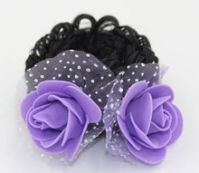 HL-0222 Colorful Elastic Hair Band with Double Fabric Flowers and Wig for Girls