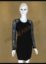 Original Design Ladies Black Lace Patchwork Back Transparent Sexy Dress